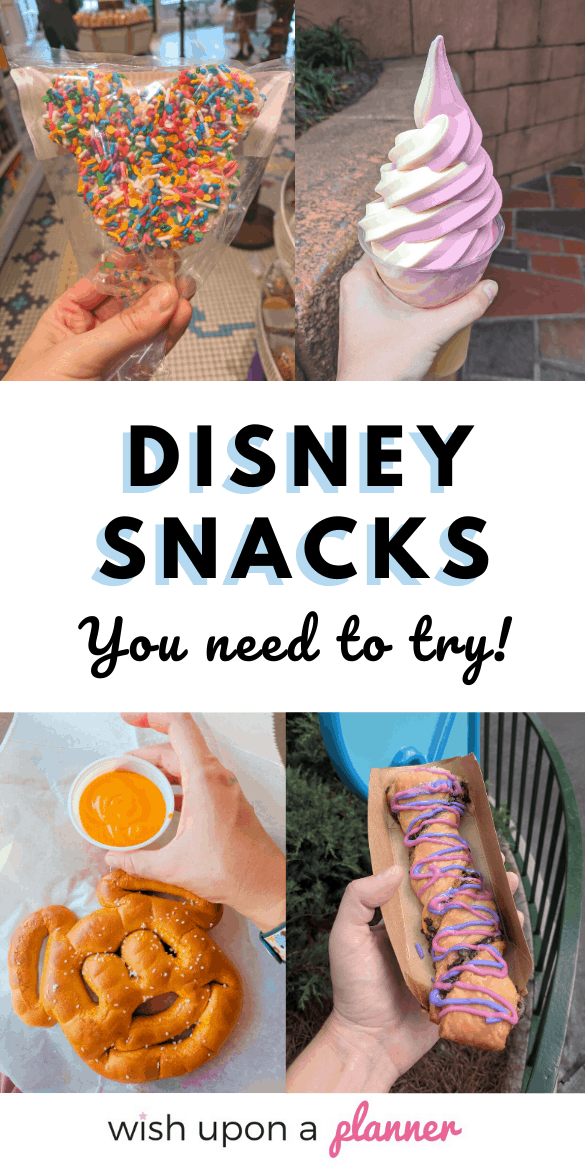 Wondering what foods you should try when you visit Disney? Check out this list of Disney snacks you NEED to try (and will definitely miss!). These are the best snacks to try at Disney World #DisneyWorldfood #Disneysnacks #Disneyfood #Disneytips
